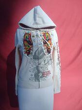 Ed Hardy by Christian Audigier White Women's Sweatshirt Jacket Coat S Hollywood