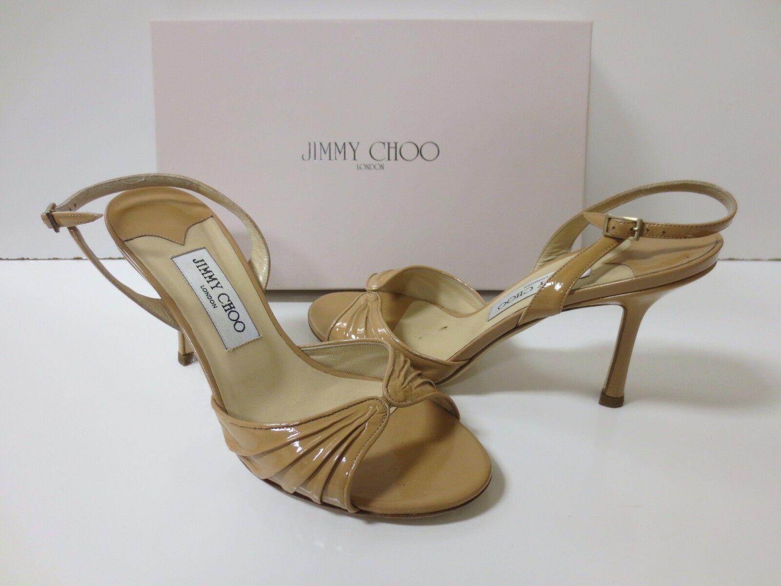 JIMMY CHOO Slingback KING Slingback CHOO Sandals Nude Patent Pelle Sz 38 EUC c78000