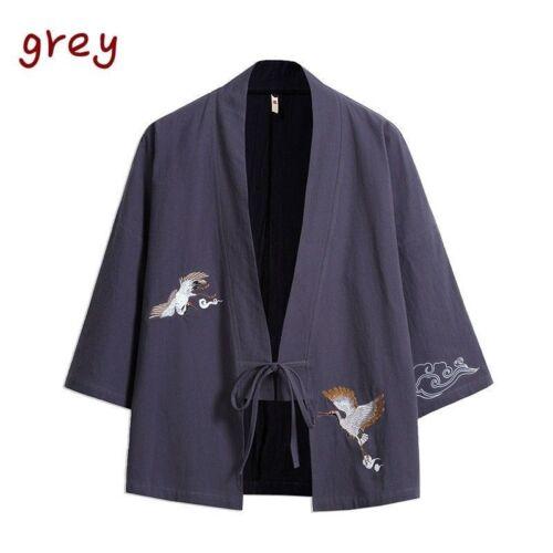 GIAPPONESE UOMO RICAMO kimono cappotto giacca stile etnico Giacca Vintage Larga