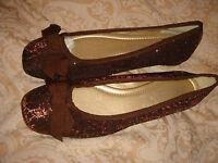monsoon accessorize shoes bnwt brown flat fabric size 5 eur 38 metallic thread