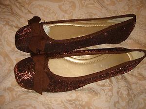 monsoon-accessorize-shoes-bnwt-brown-flat-fabric-size-5-eur-38-metallic-thread