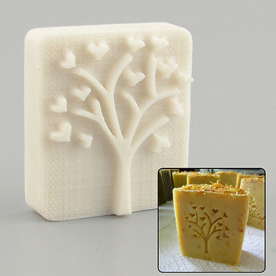 Heart Tree Design Handmade Yellow Resin Soap Stamp Stamping Mold Mould Craft