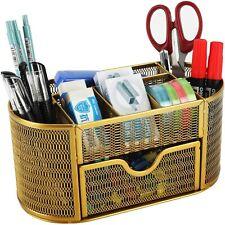 Desk Organizer Office Supply Caddy Drawer Pen Holder Collection Gold Storage