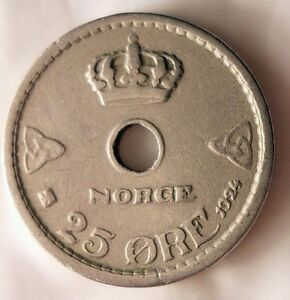 FREE SHIPPING 1924 NORWAY 25 ORE Norway Bin #3 Early Collectible Coin
