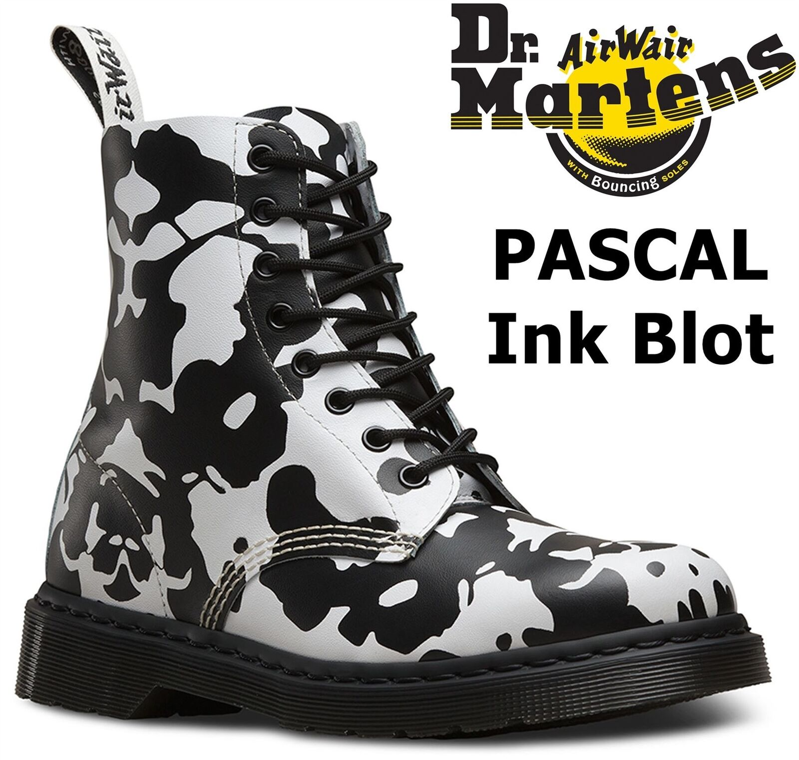 Grandes zapatos con descuento Dr Martens Ladies Pascal 1460 Black White Ink Blot Backhand Leather Ankle Boots