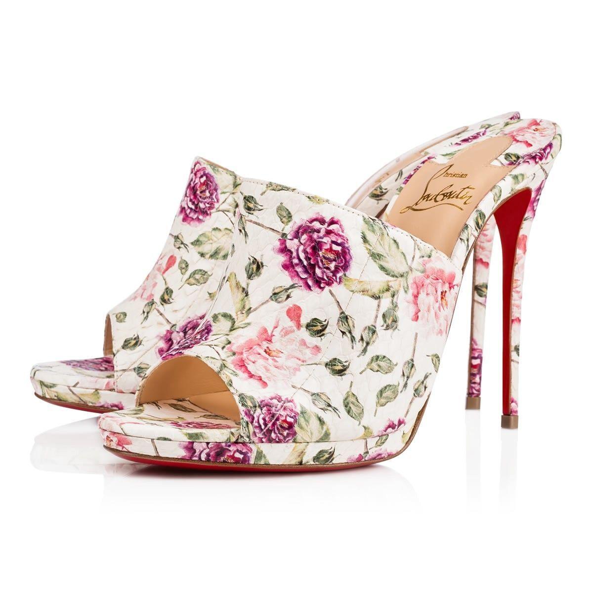 NIB Christian Louboutin Pigamule 120 White Pink Floral Mule Sandal Heel Pump 38