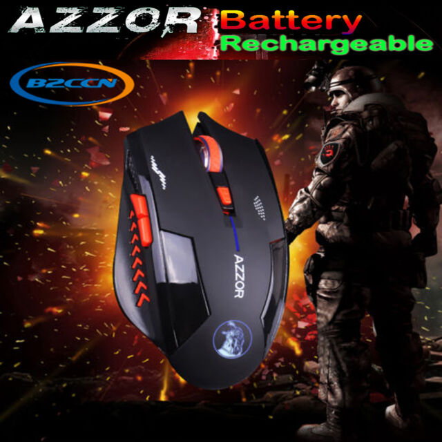 6D 2.4GHz Wireless Rechargeable 2400DPI  6 Buttons Optical Scroll Gaming Mouse