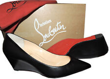 Christian Louboutin PIPINA Leather Wedge Pumps 55 Red Bottom Shoes 39 Pointy Toe