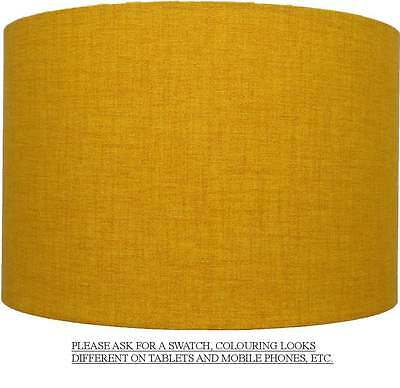 Mustard / Golden Yellow Linen Style Cylinder / Drum Lampshades