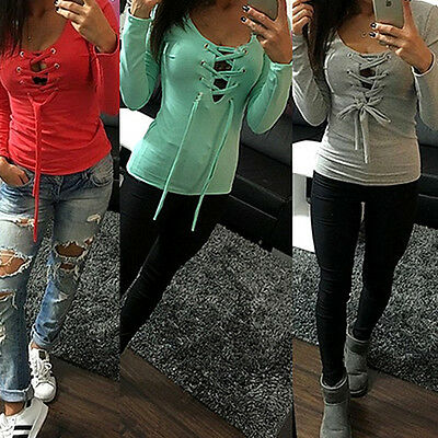 New Sexy Womens Ladies Tie Lace Up V Neck Blouse Long Sleeve Jumper T-Shirt Tops