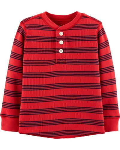 OshKosh B/'Gosh Toddler Boys Red Blue Striped Thermal Henley Shirt NWT