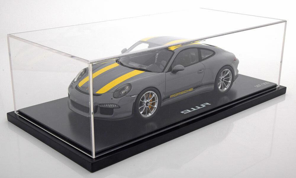 PORSCHE 911 R 991 2017 gris jaune SPARK WAX02100031 1 18 RESINE VITRINE 300 PCS