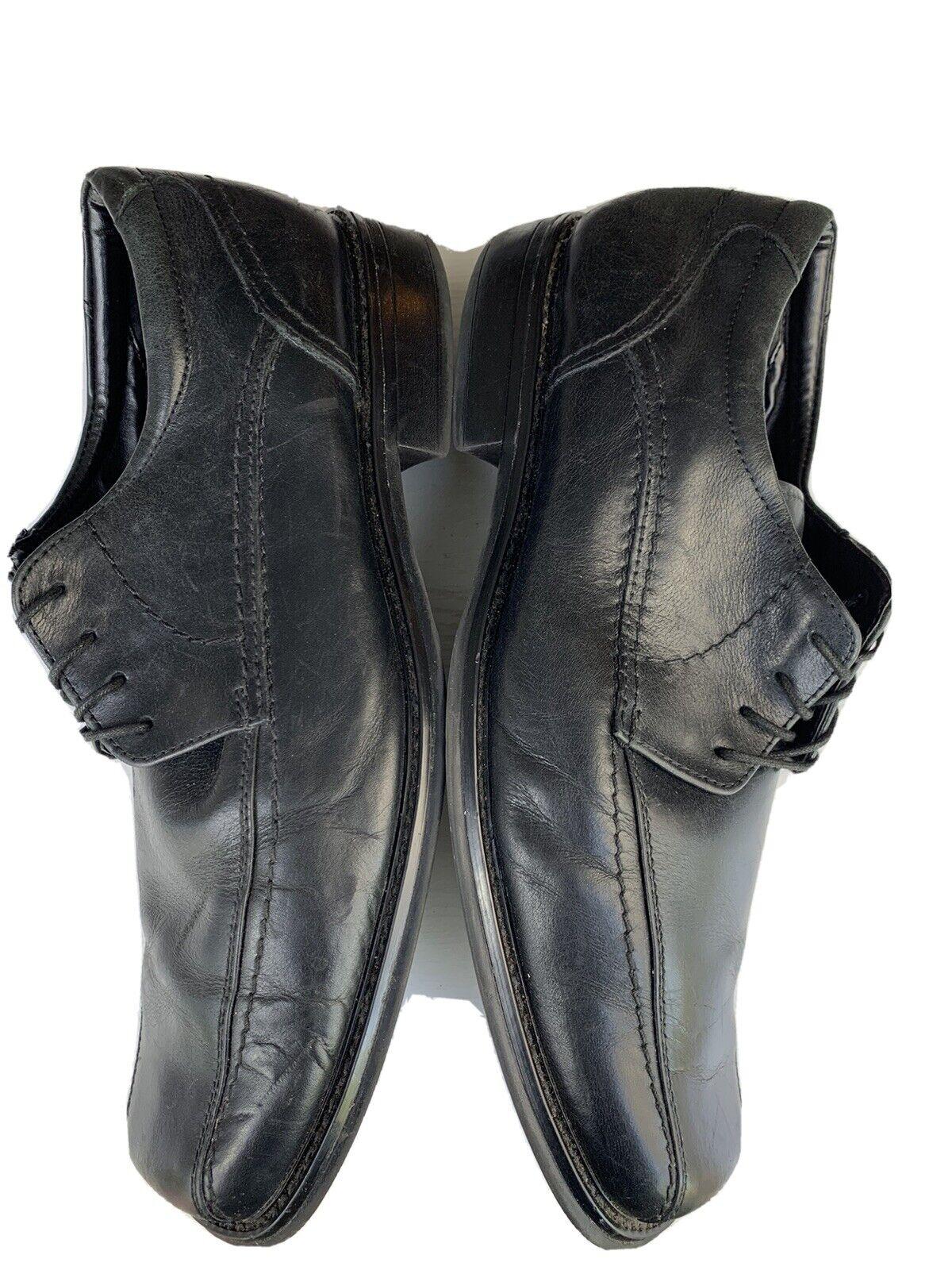 JOSEPH ABBOUD Oxford Square Toe Sz 11 M Black Leather Shoes 097-5014