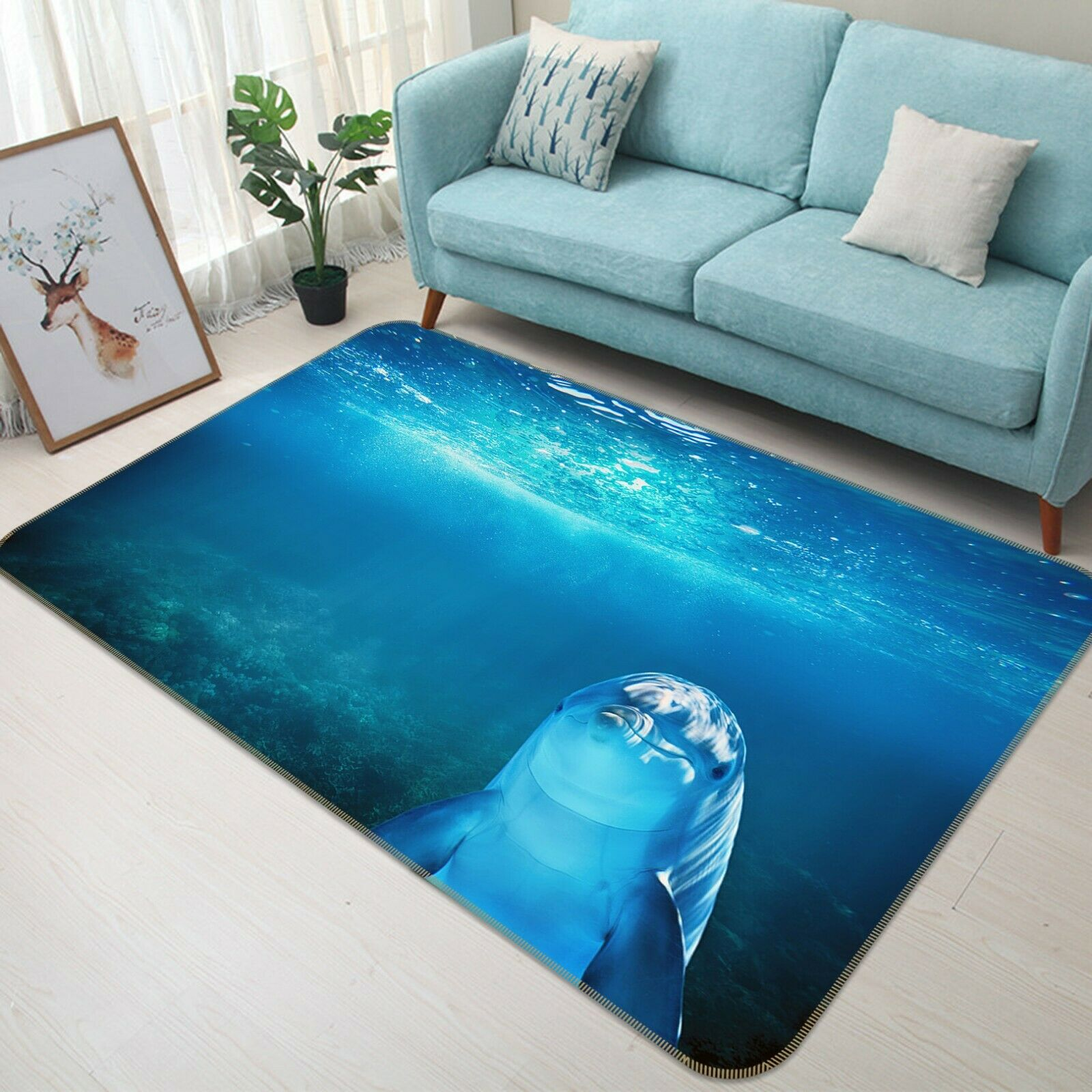 3D Seabed Dolphin C320 Animal Non Slip Rug Mat Elegant Photo Carpet Zoe