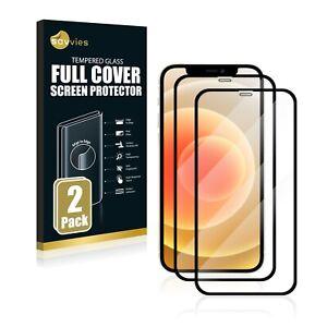 2x COVER completa per Apple iPhone 12 9H Vetro Temperato Pellicola Protezione Schermo Nero