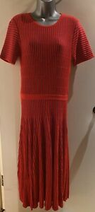 Madeleine-Red-amp-Blue-Ribbed-Fit-amp-Flare-Short-Sleeve-Midi-Dress-Size-12