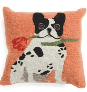 FRENCH BULLDOG Frenchie Indoor//Outdoor Hand Hooked Pillow 18x18 NWT