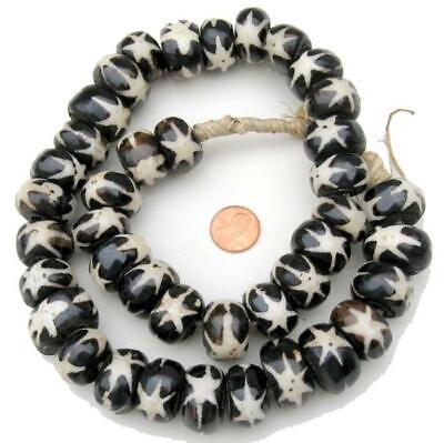Polkadot Batik Bone Beads Flags 21mm Kenya African Black and White Flat Handmade