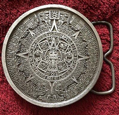Vintage 1974 Mayan Calendar Belt Buckle Bergamot Brass Works Intricate Design