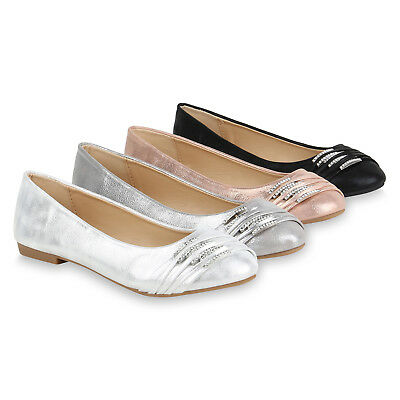 Klassische Damen Ballerinas Metallic Strass Flats Elegante Slipper 821082 Schuhe | eBay