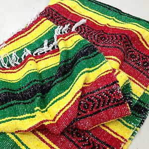 FALSA-Mexican-Blanket-Hand-Woven-RASTA-Serape-Throw-Yoga-Mat-Southwest-Fiesta