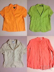 5d7dbc003 Details about 4 Women's L Eddie Bauer L.L.Bean Nygard Orange Green Linen  Lounge Casual Shirts