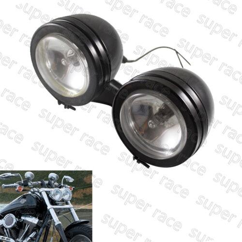 Black Dual Headlight W Mount For Harley Softail Standard FXST Street Bob FXDC