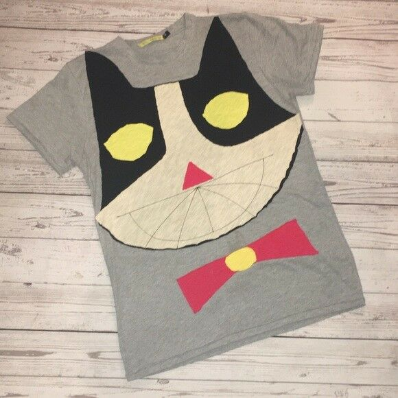 HEEL ATHENS LAB Recycling Japanese COOL Applique Kitty Crazy Cat Lady Shirt Top