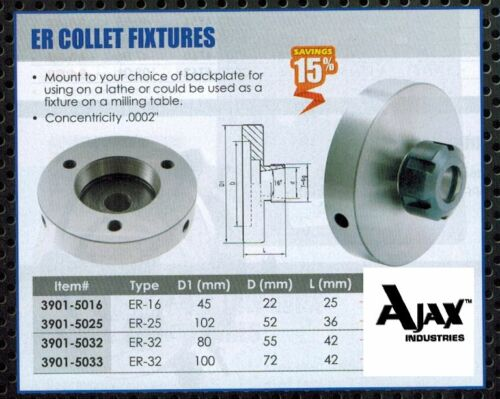 ER32 Collet Fixtures TIR .0002  for Lathe Drill Mill