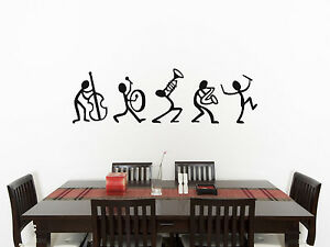 Details About Music Stick Men Living Room Dining Bedroom Decal Wall Art Sticker Picture