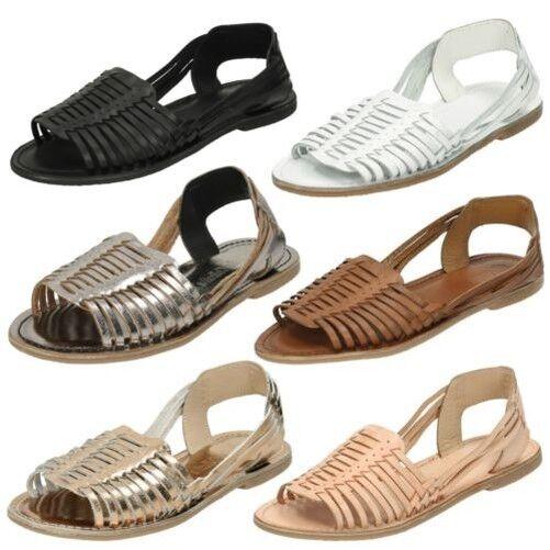 Donna Leather con Collection Basse tessute Sandali con Leather cinturino alla caviglia 79d621