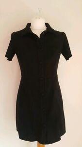 Zara Faux Suede Black Shirt Dress Size S UK 10 Y2K 90s Style Short ...