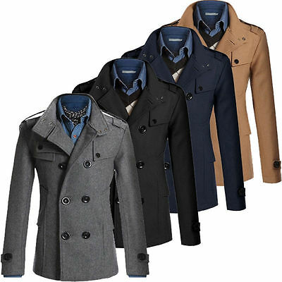 Men's Winter Wool Blend Warm Trench Coat Reefer Jackets Double Breasted Peacoat