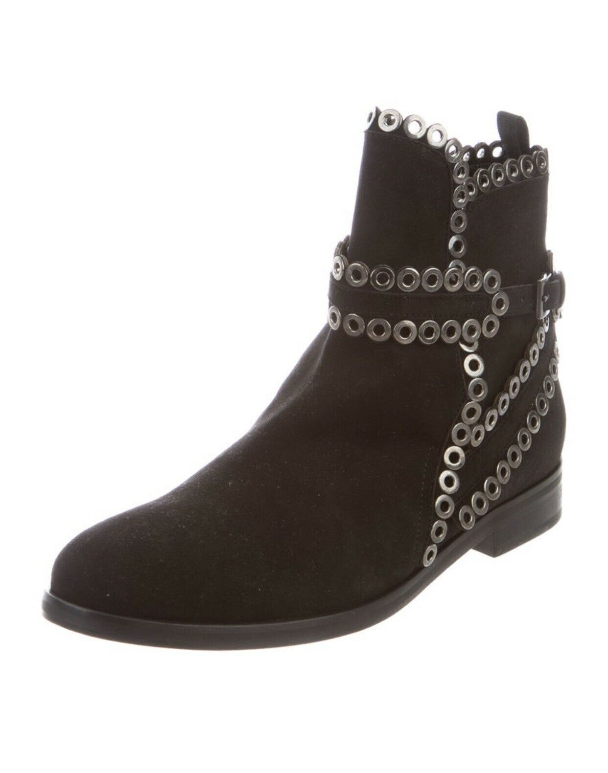 AZZEDINE ALAIA Black Suede Grommet Ankle Boots Si… - image 2