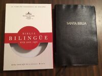 Rvr 1960 / Kjv Parallel Bilingual Bible - $40.99 Retail- Black Leather Burgundy