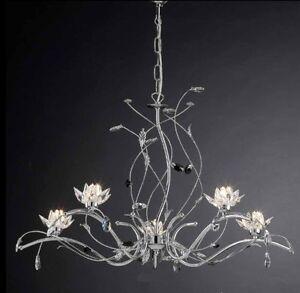 Lampadario Moderno Lampada 5 Luci Acciaio Cromato Cristalli Per