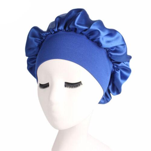 Women Satin Bonnet Cap Night Sleep Hair Head Cover Wide Band Adjust Elastic Hat
