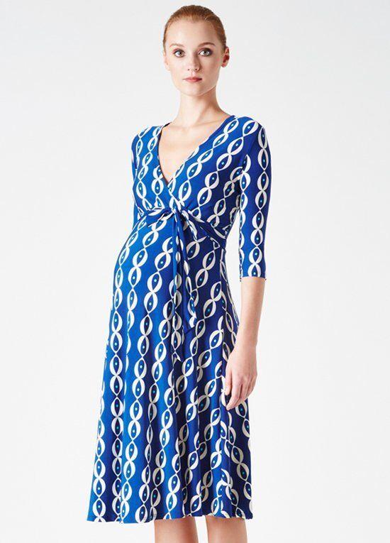 Leota Maternity Navy Robin's Egg Faux Wrap Jersey Dress M No Belt NEW L324