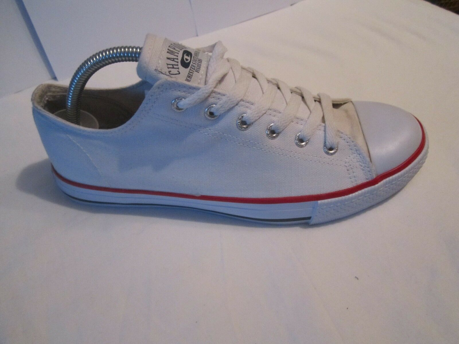 69927f9d4 ... Mens Champion Trainers Low Low Low Tops White Red Size 8 Canvas deck  shoes 5d8b90 ...
