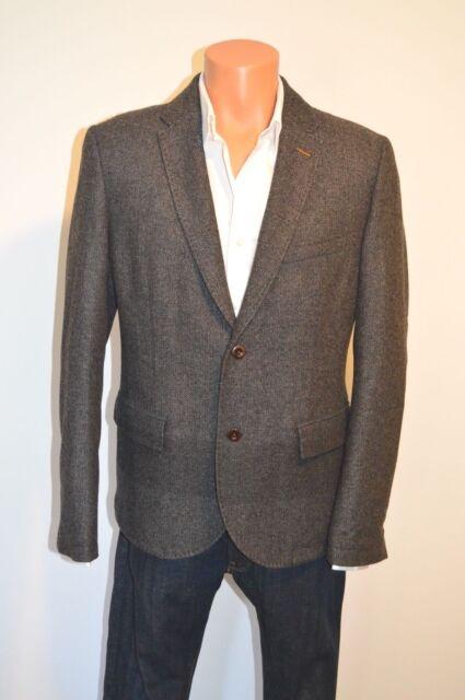 a3a83cfe7dd4 New  525 Hugo Boss Orange Beneslim5-D gRAY Wool 2 Button Blazer 40R  Herringbone