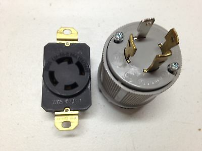 Ships Free L14-30P  locking male plug + receptacle  4-prong 125/250 Volt 30 amp