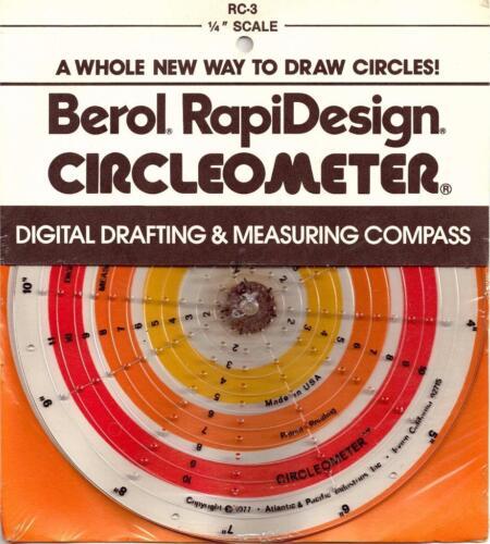 "RC-3 Berol Rapidesign Circleometer Drafting Measuring Compass 1//4/"" Scale"