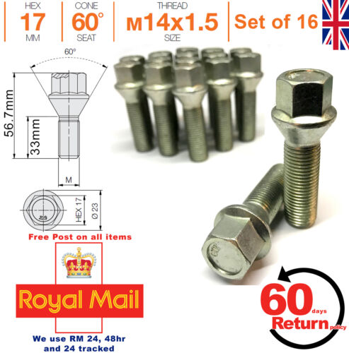 Car Alloy Wheel bolts M14x1.5 33mm extended Thread taper for Mercedes x 16