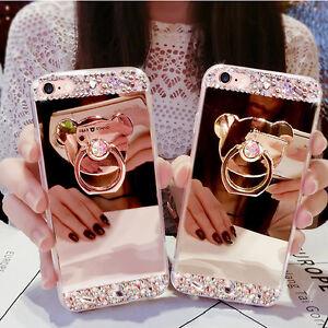 Slim-Bling-Diamond-Ring-Holder-Stand-Mirror-Back-Case-Cover-For-Various-Phone
