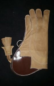 Falconry-Glove-Triple-Skinned-Nubuck-Leather-13-Inch-Long-3-Layer-Copper-Brown