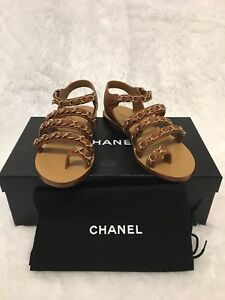 b6e67ad9d43 Image is loading Chanel-Chain-CC-Gladiator-Sandals-Brown-Sz35-5-