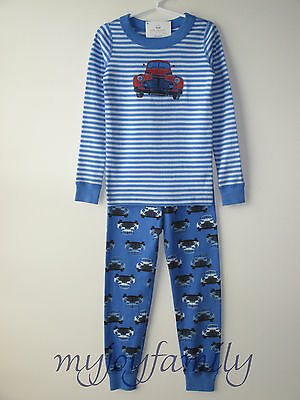 HANNA ANDERSSON Organic Long Johns Pajamas Back Roads Truck Blue 120 6-7 NWT