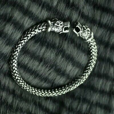 TEAMER Pagan Celtic Knot Wolf Fenrir Leather Bracelet for Men//Women Amulet Jewelry