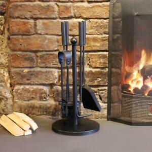Log-Burner-5-Piece-Set-Companion-Sturdy-Home-Fireplace-Accessories-Cast-Iron-New
