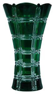 24cm-Tall-Wide-Mouth-Green-Glass-Flower-Vase-Flared-Design-Vase